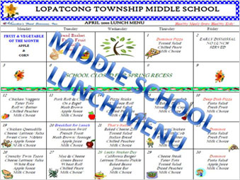 Middle School Menu