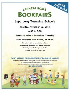 Barnes and Noble Book Fair November 12, 6:30pm to 8:30pm